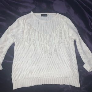 Mustard Seed Sweaters - Never worn white Mustard Seed Sweater with tassels